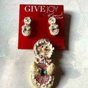 Kim Rogers Snowman jewelry set